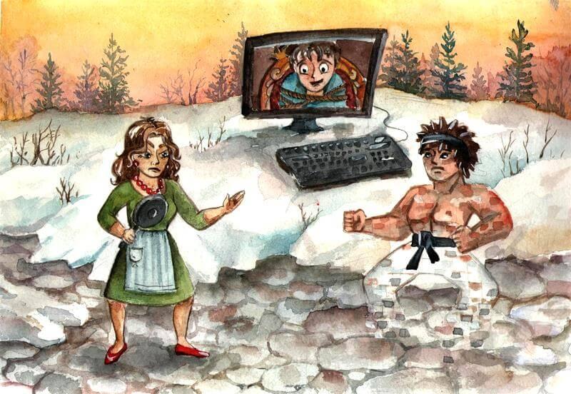 муж играет в компьютер